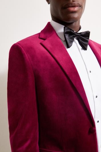 Moss London Slim Fit Berry Velvet Dresswear Jacket