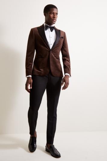 Moss London Slim Fit Brown Velvet Dresswear Jacket