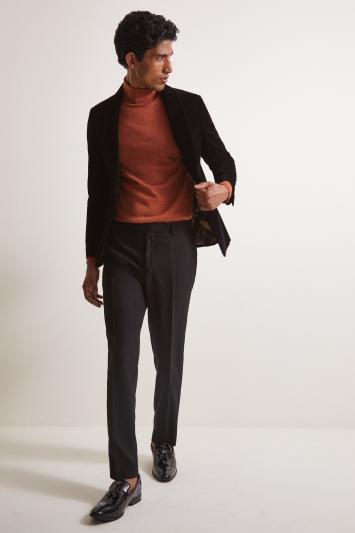 Moss London Slim Fit Black Velvet Dresswear Jacket