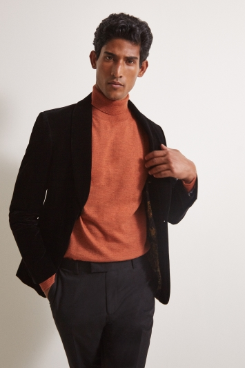 Slim Fit Black Velvet Dress Jacket