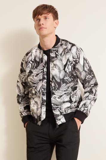 Moss London Slim Fit Black & White Heron Bomber Jacket