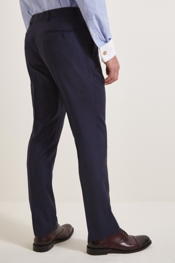 Savoy Taylors Guild Tailored Navy Red Check Trousers