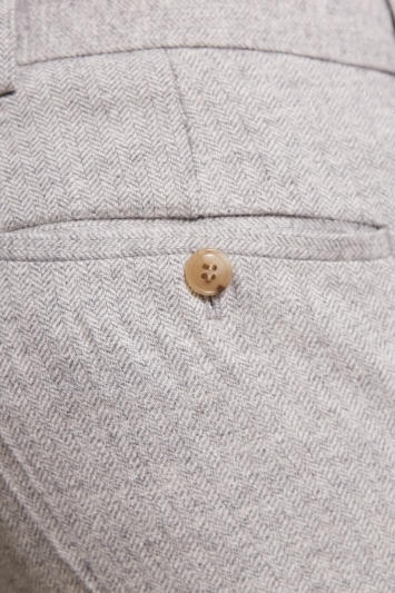 Moss London Slim Fit Light Grey Herringbone Tweed Trousers