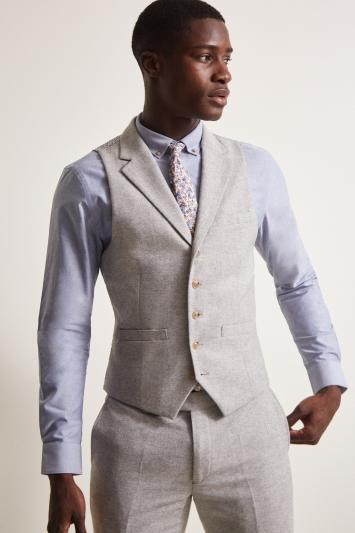 Slim Fit Grey Herringbone Tweed Waistcoat