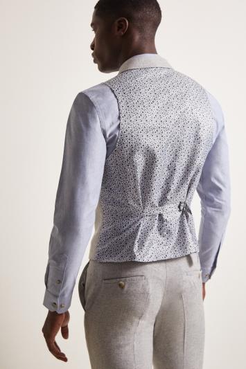 Moss London Slim Fit Light Grey Herringbone Tweed Waistcoat