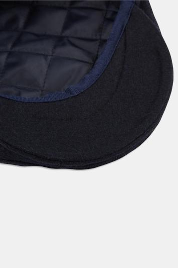 Navy Melton Wool Flat Cap