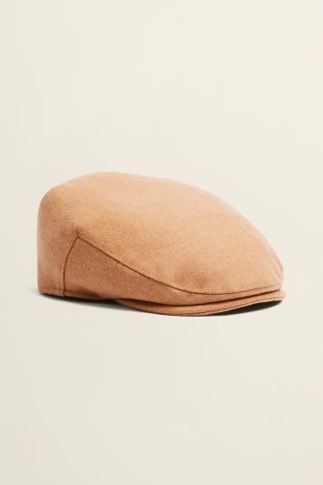 Camel Melton Wool Flat Cap