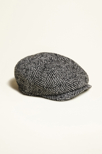 Moss 1851 Black & White Textured Herringbone Wool Baker Boy Cap