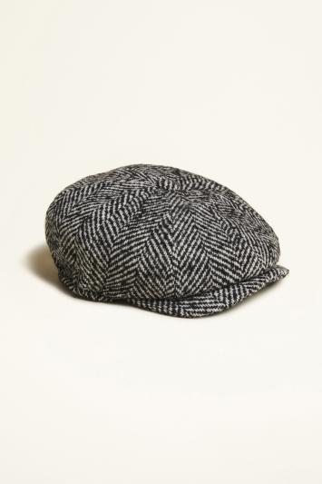 Black Textured Herringbone Wool Baker Boy