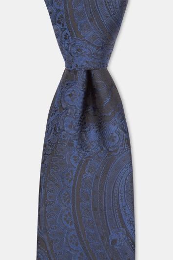 Black & Navy Paisley Tie