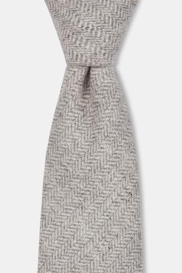 Moss London Ecru Herringbone Tailoring Cloth Tie