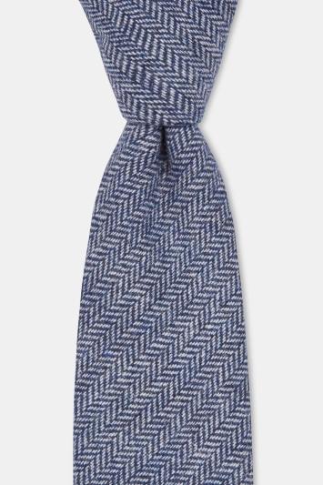 Moss London Blue Herringbone Tailoring Cloth Tie