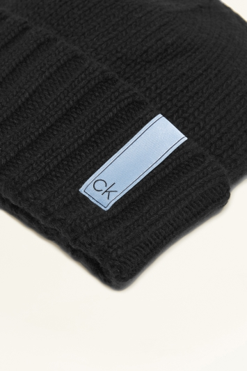 Calvin Klein Black Knitted Scarf and Beanie Set