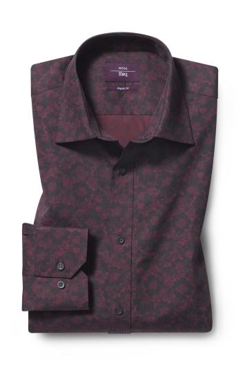 Moss Esquire Regular Fit Berry Single Cuff Floral Print Shirt