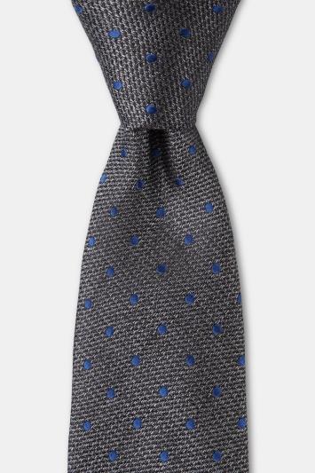 Moss 1851 Charcoal Melange with Navy Spot Silk Tie