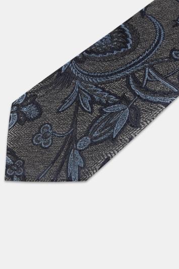 Moss 1851 Grey Herringbone with Blue Thistle Silk Tie