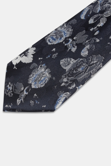 Moss 1851 Navy with Silver Rose Silk Tie