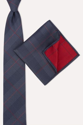 Moss London Navy & Red Crosshatch Tie & Pocket Square Set