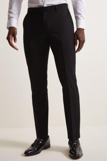 Moss London Slim Fit Black Dress Trousers