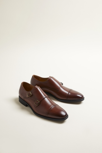 John White Alderney Performance Cognac Double-Buckle Toecap Monk Shoe