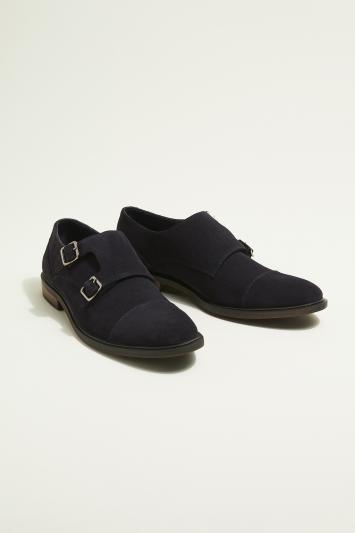 Moss London Elwood Navy Suede Double-Buckle Toecap Monk Shoe