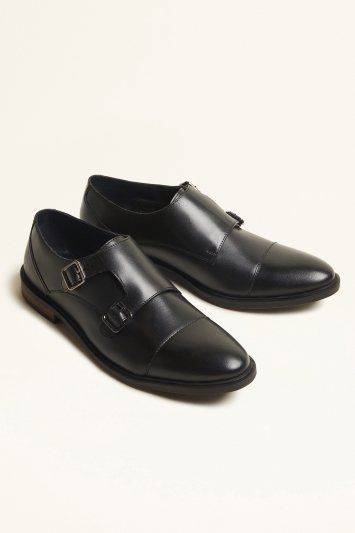 Moss London Elwood Black Double-Buckle Toecap Monk Shoe