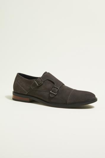 Moss London Elwood Grey Suede Double-Buckle Toecap Monk Shoe