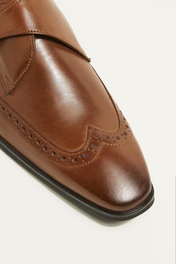 Moss London Rye Brown Single-Buckle Monk Shoe