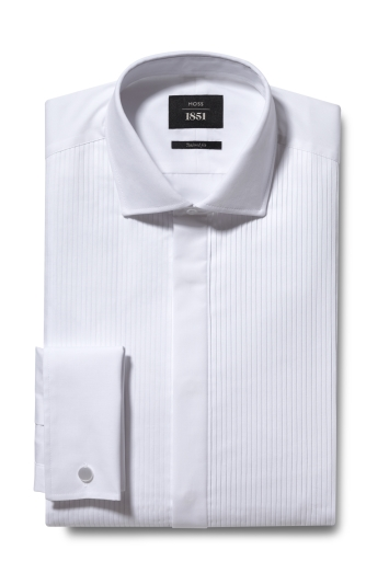 Tailored Fit White Pleated Dress Shirt