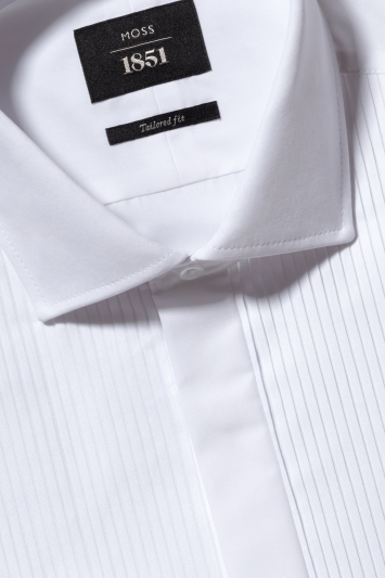 Moss 1851 Tailored Fit White Pleated Dress Shirt
