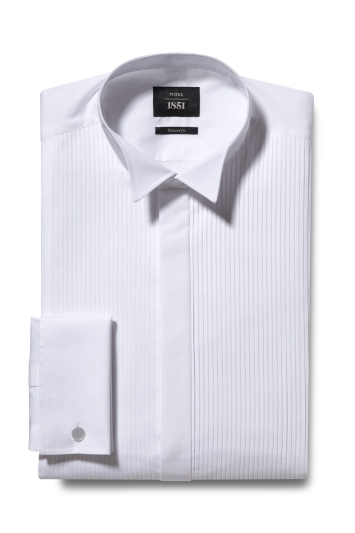 Tailored Fit White Wing Collar Pleated Dress Shirt