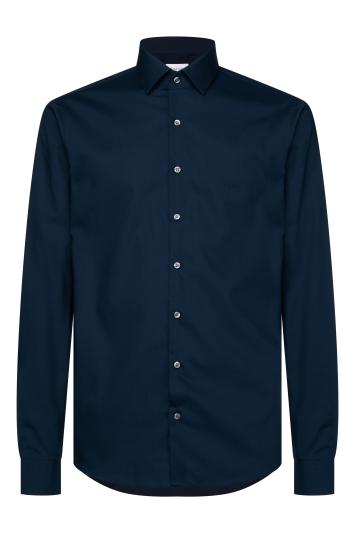 Calvin Klein Slim Fit Midnight Blue Single Cuff Poplin Stretch Shirt