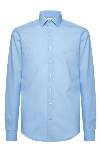 Calvin Klein Slim Fit Light Blue Single Cuff Poplin Stretch Shirt