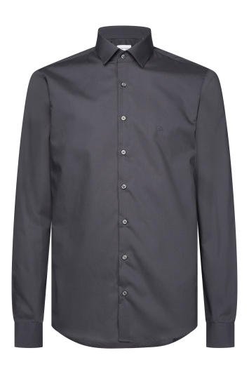 Calvin Klein Slim Fit Charcoal Single Cuff Poplin Stretch Shirt