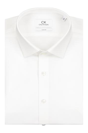 Calvin Klein Slim Fit White Single Cuff Poplin Stretch Shirt