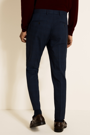 Moss London Slim Fit Navy Red Check Cropped Trouser