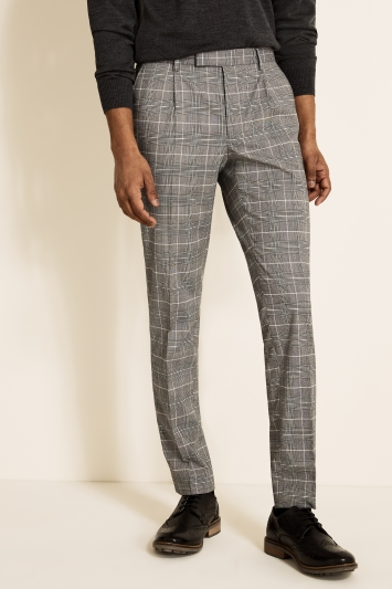 Moss London Slim Fit Black & White Prince Of Wales Check Cropped Trouser