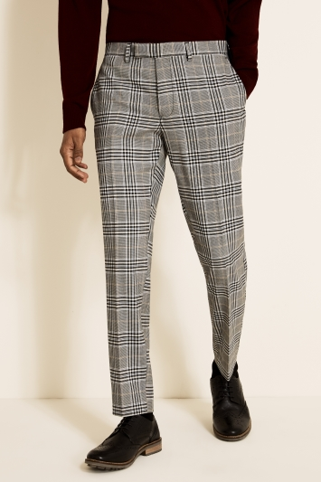 Moss London Slim Fit Grey, Oat & Black Bold Check Trouser