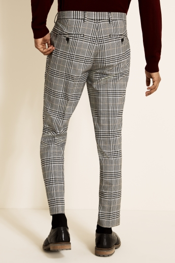 Slim Fit Oat & Black Check Trousers