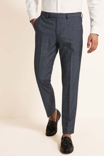 Moss London Slim Fit Mid Blue Puppytooth Cropped Trouser
