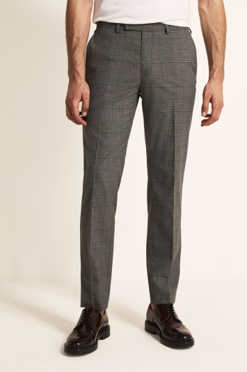 Moss 1851 Tailored Fit Grey Green Check Trouser