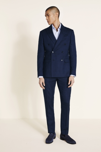 Moss London Slim Fit Blue Twisted Double Breasted Jacket