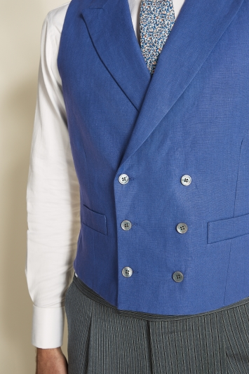 Moss Bros Covent Garden Tailored Fit Royal Blue Linen Double Breasted Waistcoat