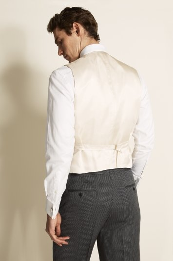 Moss Bros Covent Garden Tailored Fit Stone Double Breasted Waistcoat