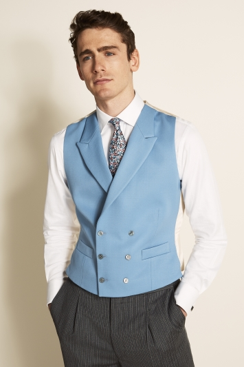 Moss Bros Covent Garden Tailored Fit Sky Double Breasted Waistcoat