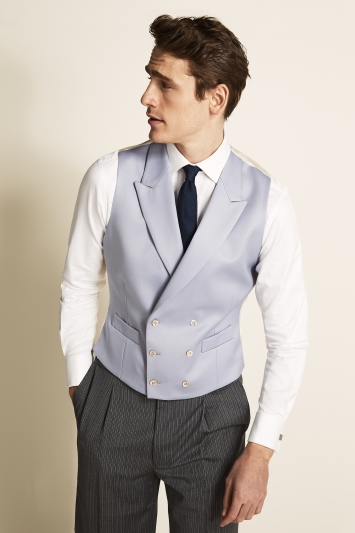 Moss Bros Covent Garden Tailored Fit Lilac Double Breasted Waistcoat