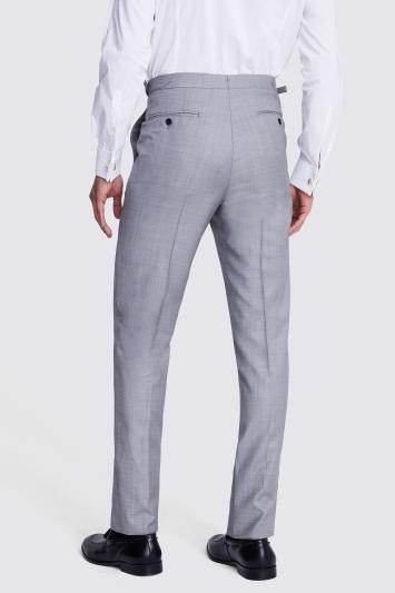 Moss Bros Covent Garden Tailored Fit Light Grey Sharkskin Trousers