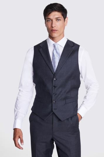 Tailored Fit Grey Sharkskin Waistcoat