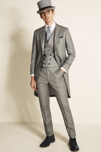 Moss Bros Covent Garden Tailored Fit Grey Sharkskin Morning Coat