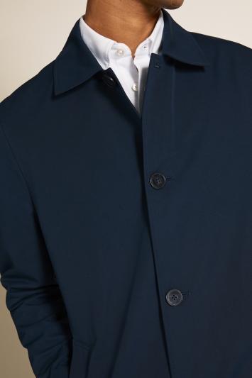 Moss London Slim Fit Blue Lined Raincoat